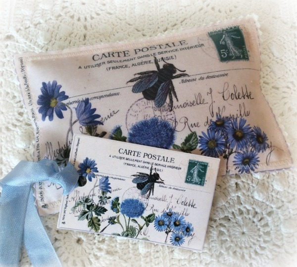 Vintage Postcard Lavender Sachet Blue Garden florals