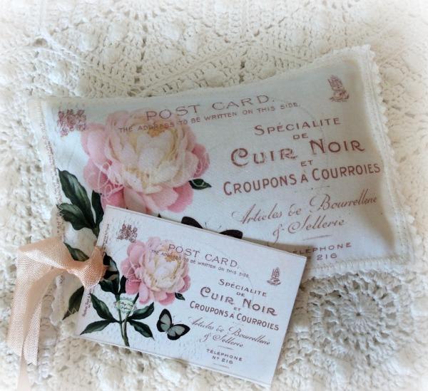 Vintage French Postcard Lavender Sachet pink rose