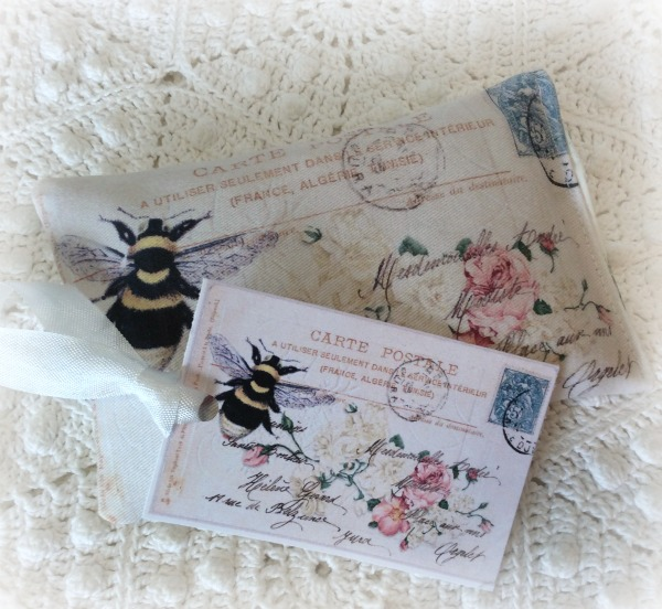 Vintage French Postcard Lavender Sachet Bumble bee