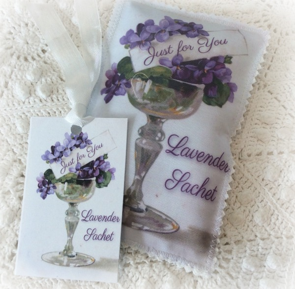Vintage Postcard Violets Just for you sachet