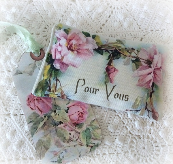French Pour Vous (for you) lavender sachet pink roses