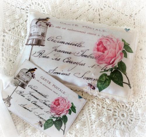Vintage Postcard Lavender Bird cage & Pink roses