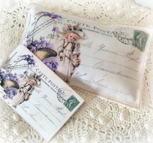 Vintage Postcard Lavender Basket of Violets