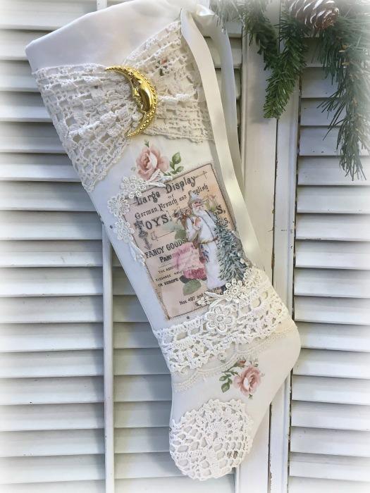 Vintage Toys Santa roses Christmas stocking