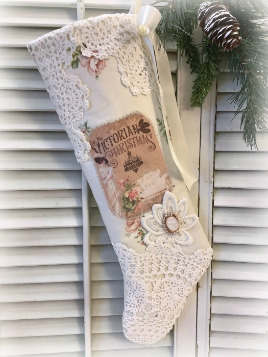 Victorian Christmas pink roses long Stocking