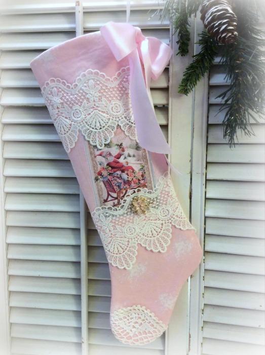 Victorian Santa pink lace long stocking
