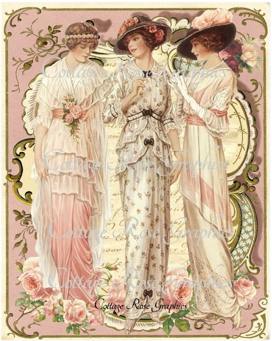 Vintage Fashions Ladies Art Print