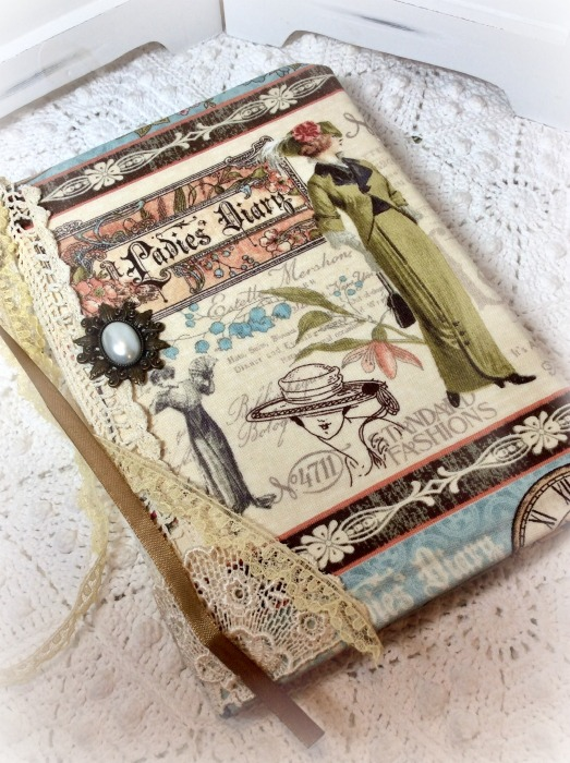 Vintage Fashions fabric embellished junk Journal