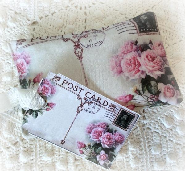 Vintage pink roses Postcard Lavender Sachet