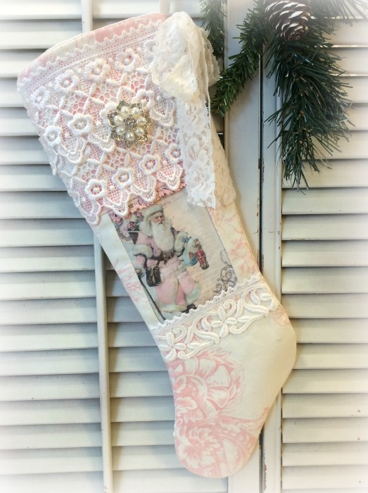 Vintage Pink Victorian Santa long stocking